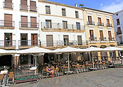 Cafes in Plaza Mayor, Carceres, Extremadura, Spain