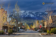 Downtown Central Avenue in spring in Whitefish, Montana, USA