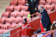 A Charlton Athletic fan wearing a Covid-19 face covering during the EFL Sky Bet League 1 match between Charlton Athletic and AFC Wimbledon at The Valley, London, England on 12 December 2020.