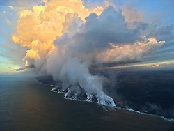 July 25, 2018 - Hawaii, U.S. - Early this morning, several small lobes of lava were oozing out from crusted a'a flows along the southern ocean entry. (Credit Image: © USGS/ZUMA Wire/ZUMAPRESS.com)