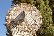Old marble sundial Palace Paco de Sao Miguel, Evora, Alto Alentejo, Portugal