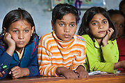 Children in a lesson at the Alternate Learning Hub, Subhai, Himalayas, India. The school is organized and funded by the Pragya charity.  Pragya is a non-profit organization providing education and information services in high altitude areas in the Himalayas.