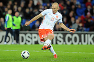 Arjen Robben of Netherlands (11) shoots and scores his teams 2nd goal. Vauxhall International football friendly, Wales v The Netherlands at the Cardiff city stadium in Cardiff, South Wales on Friday 13th November 2015. pic by Carl Robertson, Andrew Orchard, Andrew Orchard sports photography.