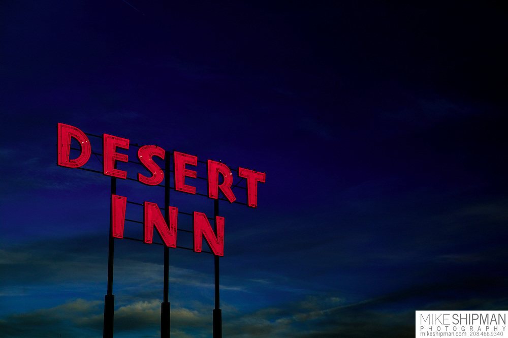 Idaho, Canyon County, Nampa, the iconic roadside sign of the Desert Inn motel in downtown