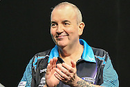 Phil Taylor takes to the stage during the Betway Premier League Darts Play-Offs at the O2 Arena, London, United Kingdom on 19 May 2016. Photo by Shane Healey.