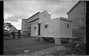 Caravan Dwellings..1963..03.10.1963..10.03.1963..3rd October 1963..Because families were being evacuated from potentially dangerous buildings in Dublin City , temporary mobile home accomodation was provided. The residents would live in the homes until the new blocks of flats were ready to accomodate them. These images were taken at Donnybrook, Dublin...Image shows the exterior view of one of the caravans which would be used to temporarily house the evacuated families. The caravans were supplied by Shannon Caravans.
