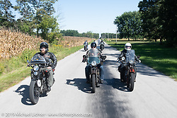 Buck Carson, Jason Wadzinski and Shane Masters on the Motorcycle Cannonball coast to coast vintage run. Stage 5 (229 miles) from Bowling Green, OH to Bourbonnais, IL. Wednesday September 12, 2018. Photography ©2018 Michael Lichter.