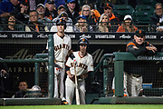 San Francisco Giants manager Bruce Bochy (15) watches the San Francisco Giants take on the Los Angeles Dodgers at AT&T Park in San Francisco, California, on September 13, 2017. (Stan Olszewski/Special to S.F. Examiner)