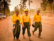 02 JUNE 2011 - ALPINE, AZ: Navajo Scouts Camp Crew Ervin Begay (FAR LEFT BASEBALL HAT) and Harold Jones (HARD HAT) and Crew Leader Jason Smiley walk back to camp after buying tee shirts at the Wallow Fire near Alpine. High winds and temperatures complicated firefighters' efforts to get the blaze under control. Officials have issued a preliminary evacuation order warning residents to be ready to move in the next 12 hours.  PHOTO BY JACK KURTZ