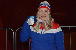 February 15, 2018 - Pyeongchang, South Korea - RAGNHILD MOWINCKEL of Norway with her silver medal from the Ladies' Giant Slalom event In the PyeongChang Olympic games. (Credit Image: © Christopher Levy via ZUMA Wire)