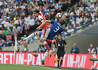 Football - 2017 FA Cup Final - Arsenal vs. Chelsea<br /> <br /> Hector Bellerín of Arsenal and Marcos Alonso of Chelsea in an aerial duel at Wembley.<br /> <br /> COLORSPORT/DANIEL BEARHAM
