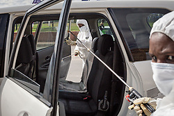 JOHANNESBURG, April 16, 2020  Staff disinfect a car in Johannesburg, South Africa, April 16, 2020. South Africa on Wednesday reported seven more deaths from the novel coronavirus, bringing the death toll to 34. The total number of confirmed cases in the country surged to 2,506, up by 91 from Tuesday's announcement. (Photo by Yeshiel/Xinhua) (Credit Image: © Xinhua via ZUMA Wire)