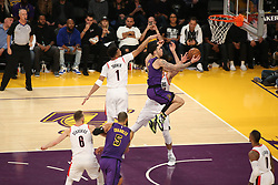 November 14, 2018 - Los Angeles, CA, U.S. - LOS ANGELES, CA - NOVEMBER 14: Los Angeles Lakers Guard Lonzo Ball (2) getting past the defenders for a shot in the air during the Portland Trail Blazers versus the Los Angles Lakers game on November 14, 2018, at Staples Center in Los Angeles, CA. (Photo by Icon Sportswire) (Credit Image: © Jevone Moore/Icon SMI via ZUMA Press)