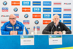 12.02.2020, Suedtirol Arena, Antholz, ITA, IBU Weltmeisterschaften Biathlon, Pressekonferenz, im Bild v.l. Niklas Carlsson (IBU Generalsekretär), Olle Dahlin (IBU Präsident) // f.l. Niklas Carlsson Secretary General of the International Biathlon Union and Olle Dahlin President of the International Biathlon Union during a press conference before the IBU Biathlon World Championships 2020. Suedtirol Arena in Antholz, Italy on 2020/02/12. EXPA Pictures © 2020, PhotoCredit: EXPA/ Stefan Adelsberger