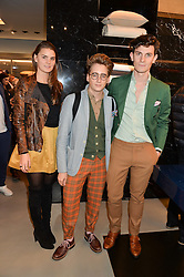 Left to right, CHARLOTTE REY, LUKE EDWARD HALL and DUNCAN CAMPBELL at the launch of the new Frette store at 43 South Audley Street, London on 6th October 2016.