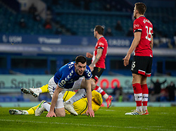 LIVERPOOL, ENGLAND - Monday, March 1, 2021: Everton's Michael Keane celebrates after scoring a second goal. but it is disallowed after a VAR review, during the FA Premier League match between Everton FC and Southampton FC at Goodison Park. Everton won 1-0. (Pic by David Rawcliffe/Propaganda)