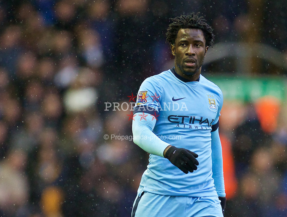 LIVERPOOL, ENGLAND - Sunday, March 1, 2015: Manchester City's Wilfried Bony in action against Liverpool during the Premier League match at Anfield. (Pic by David Rawcliffe/Propaganda)