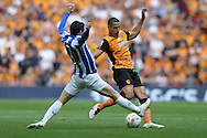 Kieran Lee of Sheffield Wednesday (l)  intercepts Jake Livermore of Hull City. Skybet football league Championship play off final match, Hull city v Sheffield Wednesday at Wembley Stadium in London on Saturday 28th May 2016.<br /> pic by John Patrick Fletcher, Andrew Orchard sports photography.