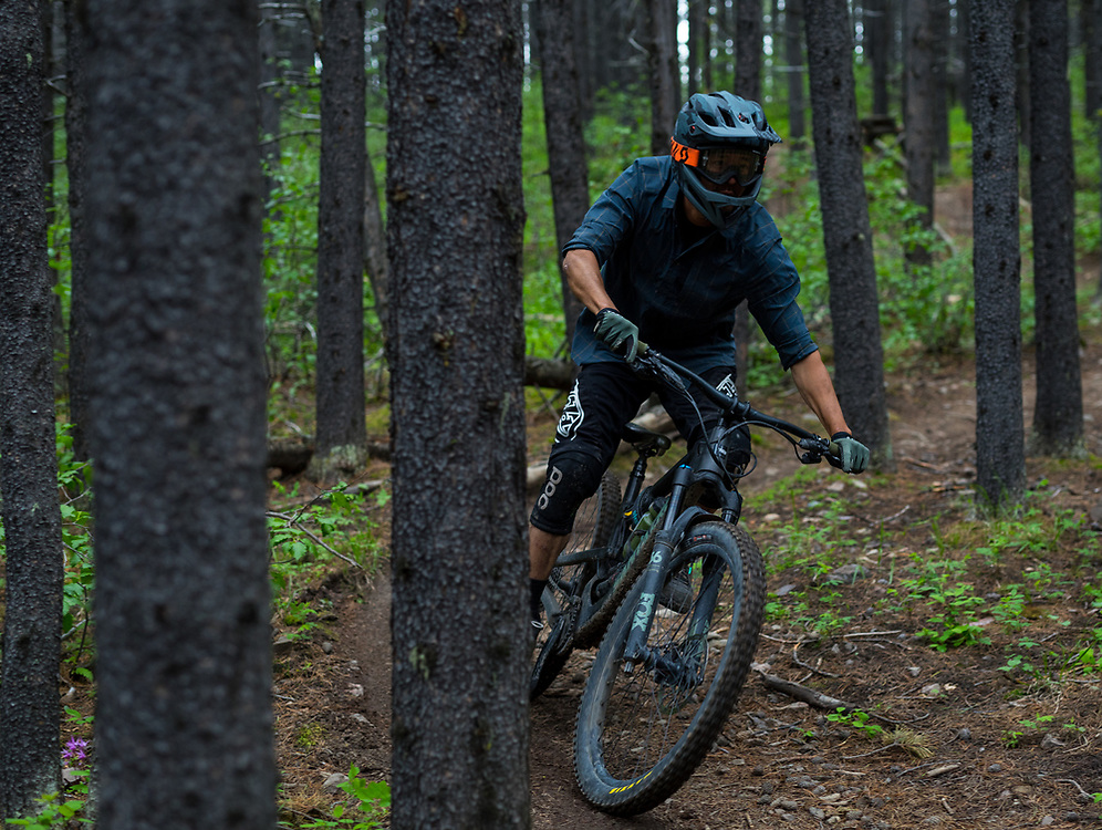 Pete Hoang riding on Race of Spades at Moose Mountain in Alberta, Canada