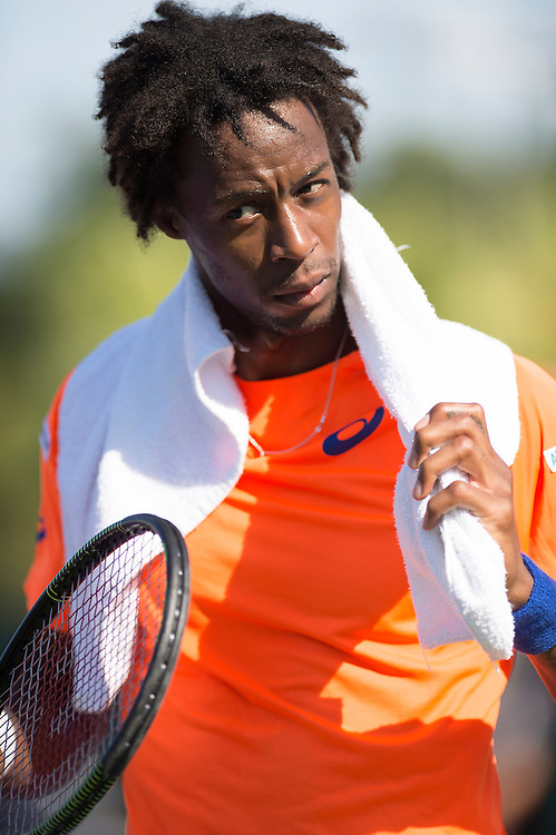 KEY BISCAYNE, FL - March 29: Gael Monfils (FRA) in action here defeats Jo-Wilfried Tsonga (FRA) 64 76(4) at the 2015 Miami Open at the Crandon Tennis Center in Key Biscayne Florida.  Photographer Andrew Patron - CameraSport/BigShots<br /> <br /> Tennis - 2015 Miami Open presented by Itau - Crandon Park Tennis Center - Key Biscayne, Florida - USA - Day 7, Sunday 29th March 2015<br /> <br /> © CameraSport - 43 Linden Ave. Countesthorpe. Leicester. England. LE8 5PG - Tel: +44 (0) 116 277 4147 - admin@camerasport.com - www.camerasport.com