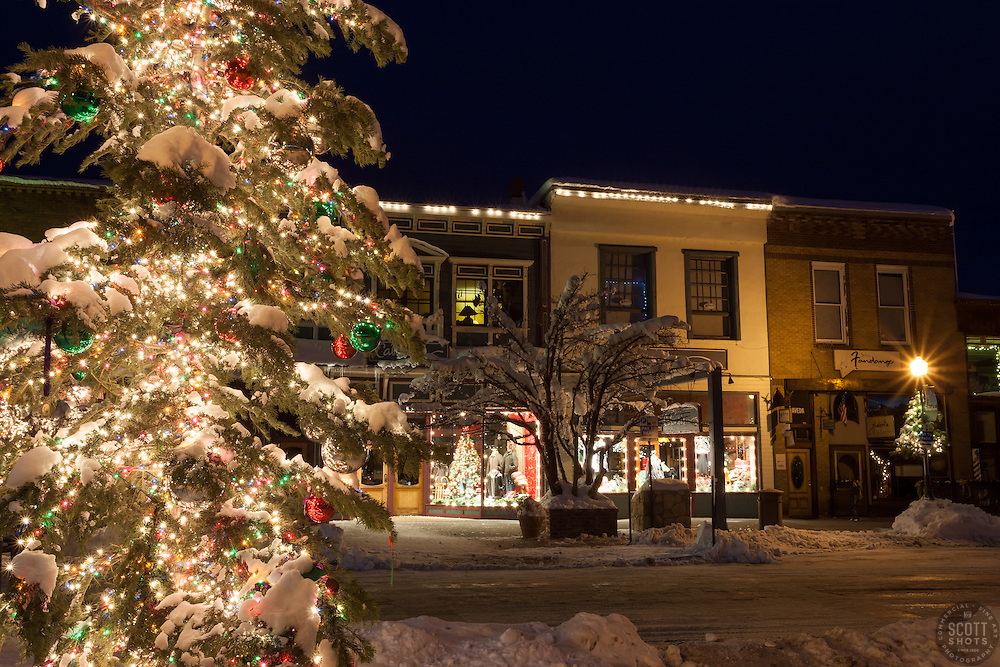 """""""Snowy Christmas Tree in Truckee 3"""" - This snow covered Christmas tree was photographed in Downtown Truckee, California."""