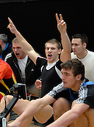 Dresden, GERMANY, Joint winner, Karl SCHULZE, celebrates, after competing at the European Indoor Rowing Championships, Margon Arena,  15/12/2007 [Mandatory Credit Peter Spurrier/Intersport Images]