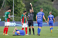 Yellow card to Correa during the Liga NOS match between Belenenses SAD and Maritimo at Estadio do Jamor, Lisbon, Portugal on 17 April 2021.