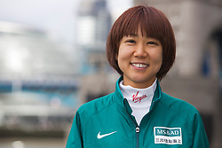 © Licensed to London News Pictures. 18/04/2013. London, England. Pictured: Japanese Runner Yoko Shibui. Virgin London Marathon - Photocall with International Women Runners Athletes Tiki Gelana (ETH), Edna Kiplagat (KEN), Priscah Jeptoo (KEN) and Yoko Shibui (JPN) at Tower Bridge ahead of Sunday's run, London. Photo credit: Bettina Strenske/LNP