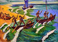 République d'Irlande, Dublin, National Gallery of Ireland, musée national de peinture, Max Pechstein, Bateaux au départ, Nidden, 1920 // Republic of Ireland; Dublin, National Gallery of Ireland, Max Pechstein, Departing Boats, Nidden, 1920