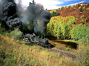 The Cumbres and Toltec Scenic Railroad lumbers toward the Colorado border from Chama, New Mexico.