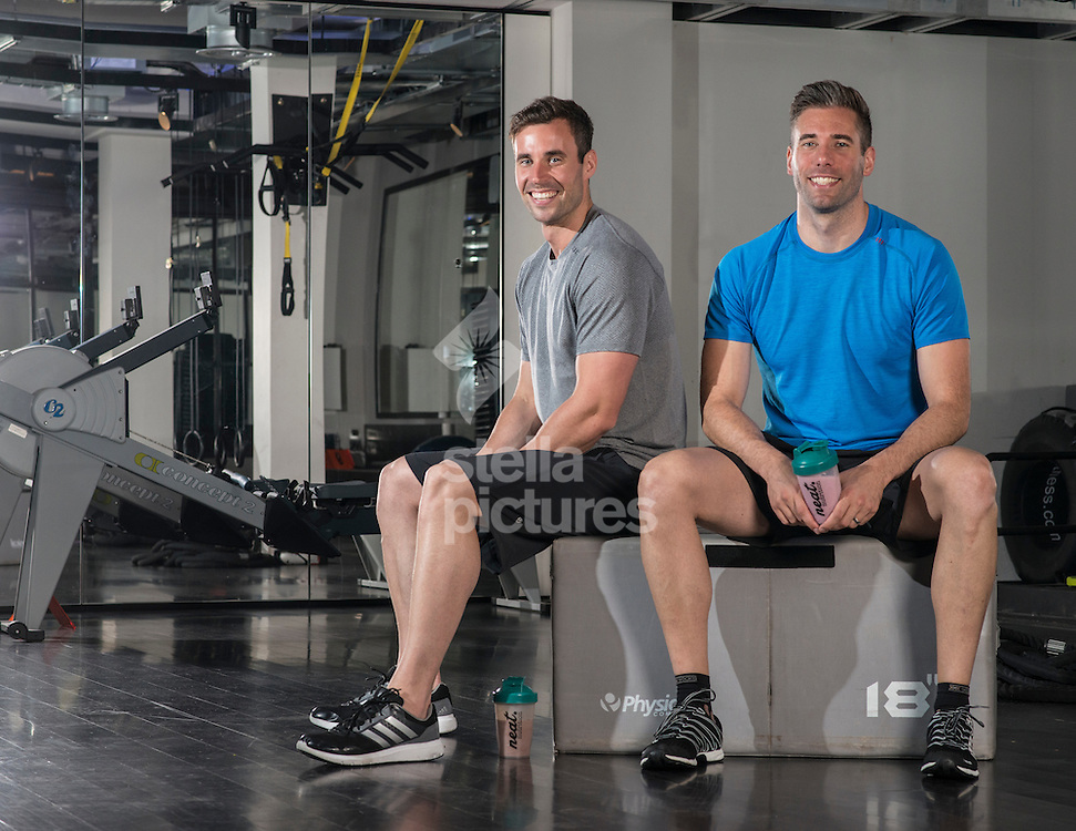 Former GB swimmers, Lee Forster (blue shirt) and Charlie Turner founders of Neat Nutrition. <br /> Picture by Daniel Hambury/Stella Pictures Ltd +44 7813 022858<br /> 14/07/2016