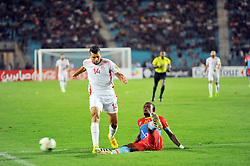 September 1, 2017 - Tunis, Tunisia - Mohamed Amine Ben Amor(14) of Tunisia and Bompunga Padou(10)of Congo  during the qualifying match for the World Cup Russia 2018 between Tunisia and the Democratic Republic of Congo (RD Congo) at the Rades stadium in Tunis. (Credit Image: © Chokri Mahjoub via ZUMA Wire)