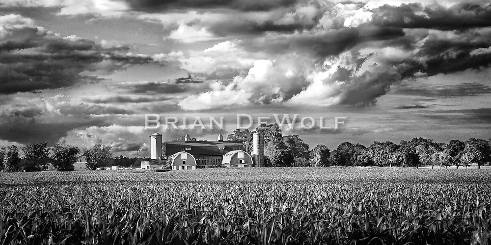 Storm clouds and the farm at Mooseheart.