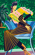 Creative image of a female seated figure from the 1990s wearing glamorous clothing.