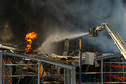 Firefighters battle blaze at Beirut port on Thursday, Sep 10 2020 just over a month after the explosion which devastated the city. (VXP Pictures/ Matt Kynaston)