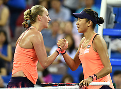 ZHUHAI, Nov. 5, 2016  Petra Kvitova of the Czech Republic shakes hands with Zhang Shuai of China after their women's singles semifinal at the WTA Elite Trophy tournament in Zhuhai, south China's Guangdong Province,on Nov. 5, 2016. Kvitova won 2-0. (Credit Image: © Lu Hanxin/Xinhua via ZUMA Wire)