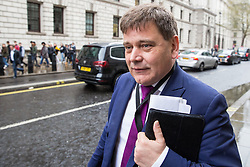 London, UK. 9th April 2019. Andrew Bridgen, Conservative MP for North West Leicestershire, arrives to speak at a 'No Delay, No Capitulation – NO DEAL' rally in Westminster organised by the pro-Brexit Bruges Group. Mark Francois MP, Deputy Chairman of the European Research Group (ERG), and Anne Marie Morris, Conservative MP for Newton Abbot, also spoke at the event.