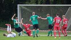 Andreas Vestergaard (Bispebjerg Boldklub) scorer til 2-1 under kampen i Sydbank Pokalen, 1. runde, mellem Bispebjerg Boldklub og FC Helsingør den 2. september 2020 i Lersø Parken (Foto: Claus Birch).