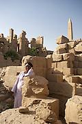 Man at Temple of Amun at Karnak  Luxor, Egypt