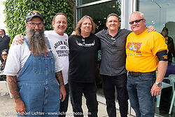 Wink Eller, Tom Motzko (Dead Specialties), Troy Glenn (Accutronix), Jeff Ulvestad (Parts Unlimited) and Jeff Derge at the Arlen Ness Memorial - Celebration of Life at the Arlen Ness Motorcycles store. Dublin, CA, USA. Saturday, April 27, 2019. Photography ©2019 Michael Lichter.