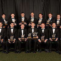 26 October 2012; The GAA GPA All-Star Hurling Team of the Year, back row, from left, Brendan Bugler, Clare, David Burke, Galway, TJ Reid, Kilkenny, Iarla Tannian, Galway, Brian Hogan, Kilkenny, Kevin Moran, Waterford, Joe Canning, Galway, JJ Delaney, Kilkenny, and GAA GPA All-Star Young Hurler of the Year Johnny Coen, Galway, with, front row, from left, David Collins, Galway, Fergal Moore, Galway, Daminen Hayes, Galway, GAA GPA All-Star Hurler of the Year Henry Shefflin, Kilkenny, John Mullane, Waterford, Anthony Nash, Cork, and Paul Murphy, Kilkenny, at the GAA GPA All-Star Awards 2012, Sponsored by Opel, National Convention Centre, Dublin. Picture credit: Paul Mohan / SPORTSFILE *** NO REPRODUCTION FEE ***