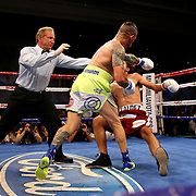KISSIMMEE, FL - JULY 15: Orlando Cruz (L) knocks out Alejandro Valdez during a boxing match at the Kissimmee Civic Center on July 15, 2016 in Kissimmee, Florida. Cruz was the first professional boxer to announce himself as gay and recently lost four friends in the Pulse Nightclub shooting in Orlando, he dedicated this match to his lost friends and won the bout by TKO in the 7th round.  (Photo by Alex Menendez/Getty Images) *** Local Caption *** Orlando Cruz; Alejandro Valdez