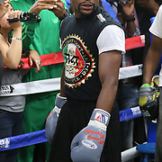 LAS VEGAS, NV - APRIL 14: WBC/WBA welterweight champion Floyd Mayweather Jr. loosens up before he works out at the Mayweather Boxing Club on April 14, 2015 in Las Vegas, Nevada. Mayweather will face WBO welterweight champion Manny Pacquiao in a unification bout on May 2, 2015 in Las Vegas.  (Photo by Alex Menendez/Getty Images) *** Local Caption *** Floyd Mayweather Jr.