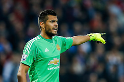Goalkeeper Sergio Romero of Manchester United points - Mandatory byline: Rogan Thomson/JMP - 07966 386802 - 14/08/2015 - FOOTBALL - Villa Park Stadium - Birmingham, England - Aston Villa v Manchester United - Barclays Premier League.