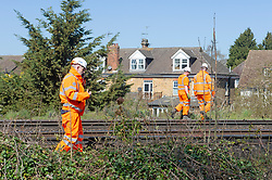 © Licensed to London News Pictures 23/04/2021. Dunton Green, UK. A freight train has caught fire this morning on the tracks outside Dunton Green Train Station in Kent, firefighters extinguished the blaze and engineers are now working to remove it.  Photo credit:Grant Falvey/LNP
