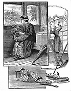 A country girl in railway carriage leaving home for the first time to go 'into service' as a maid in a city.  Illustrated are some of her coming tasks such as scrubbing floors and cleaning windows. Illustration by Marian Gardiner. Wood engraving 1884