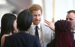 April 18, 2018 - London, London, United Kingdom - Image licensed to i-Images Picture Agency. 18/04/2018. London, United Kingdom. Prince Harry and Meghan Markle  at a reception for the Commonwealth Youth Forum in London, during the Commonwealth Heads of Government Meeting(CHOGM) (Credit Image: © Rota/i-Images via ZUMA Press)