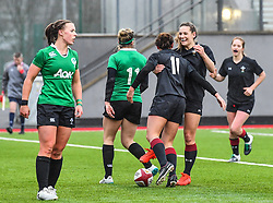 Wales women's Jessica Kavanagh-Williams celebrates scoring her sides second try with team-mate <br /> <br /> Photographer Craig Thomas/Replay Images<br /> <br /> International Friendly - Wales women v Ireland women - Sunday 21th January 2018 - CCB Centre for Sporting Excellence - Ystrad Mynach<br /> <br /> World Copyright © Replay Images . All rights reserved. info@replayimages.co.uk - http://replayimages.co.uk