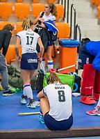 ROTTERDAM -  teleurstelling bij Carmel Bosch (SCHC) na de wedstrijd, dames Amsterdam-SCHC.   ,hoofdklasse competitie  zaalhockey.   COPYRIGHT  KOEN SUYK