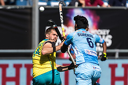 (L-R) Aaron Kleinschmidt of Australia, Surender Kumar of India during the Champions Trophy finale between the Australia and India on the fields of BH&BC Breda on Juli 1, 2018 in Breda, the Netherlands.